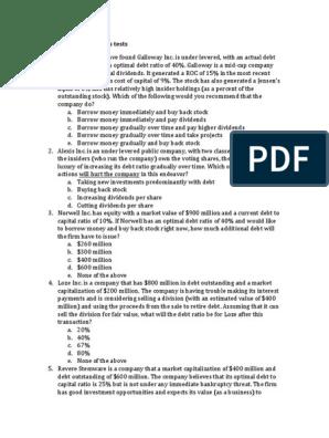 Session 22 Test Debt Stocks