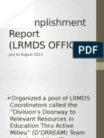Accomplishment Report (LRMDS OFFICE)