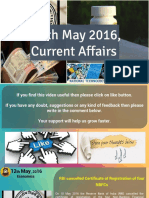 12 May 2016 Current Affair for Competition Exams