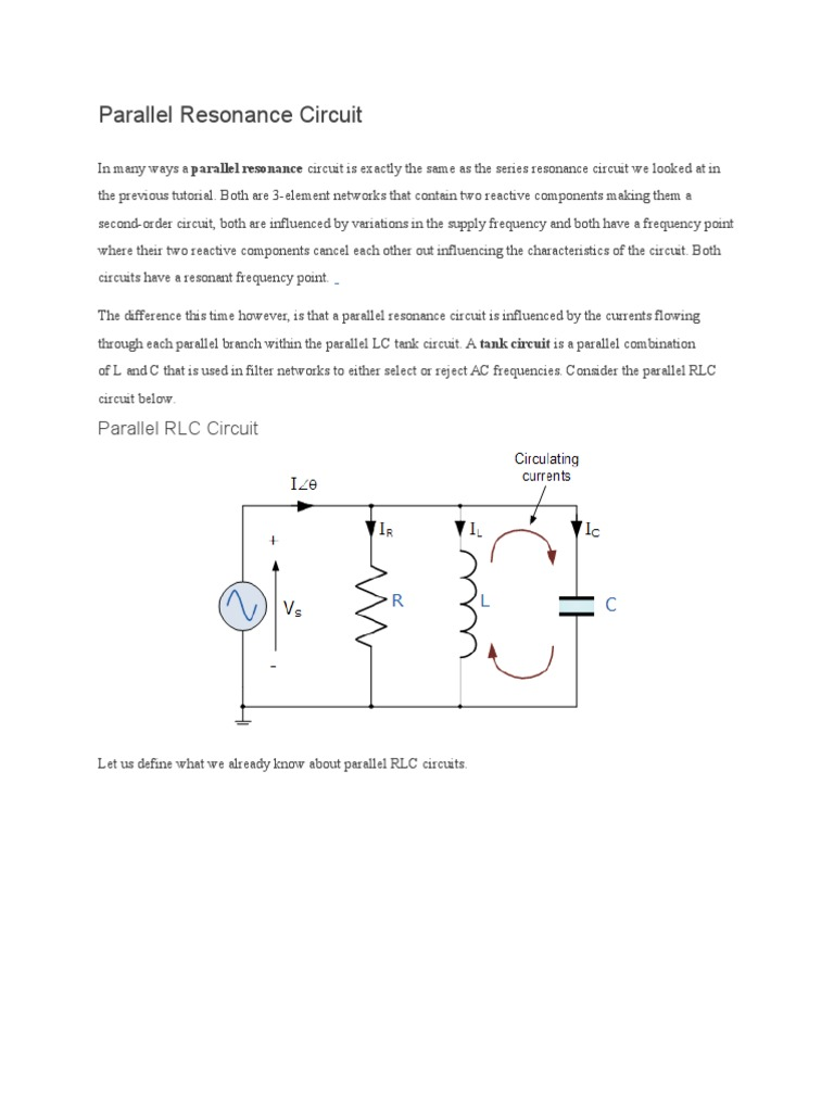 parallel resonance circuit series and parallel circuits rh es scribd com