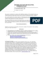 Public International Law Syllabus