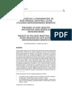 REDUCCIÓN DE LA CONTAMINACIÓN  EN AGUA RESIDUAL INDUSTRIAL LÁCTEA UTILIZANDO MICROORGANISMOS BENÉFICOS