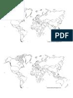 Plantilla de Un Planisferio mundial