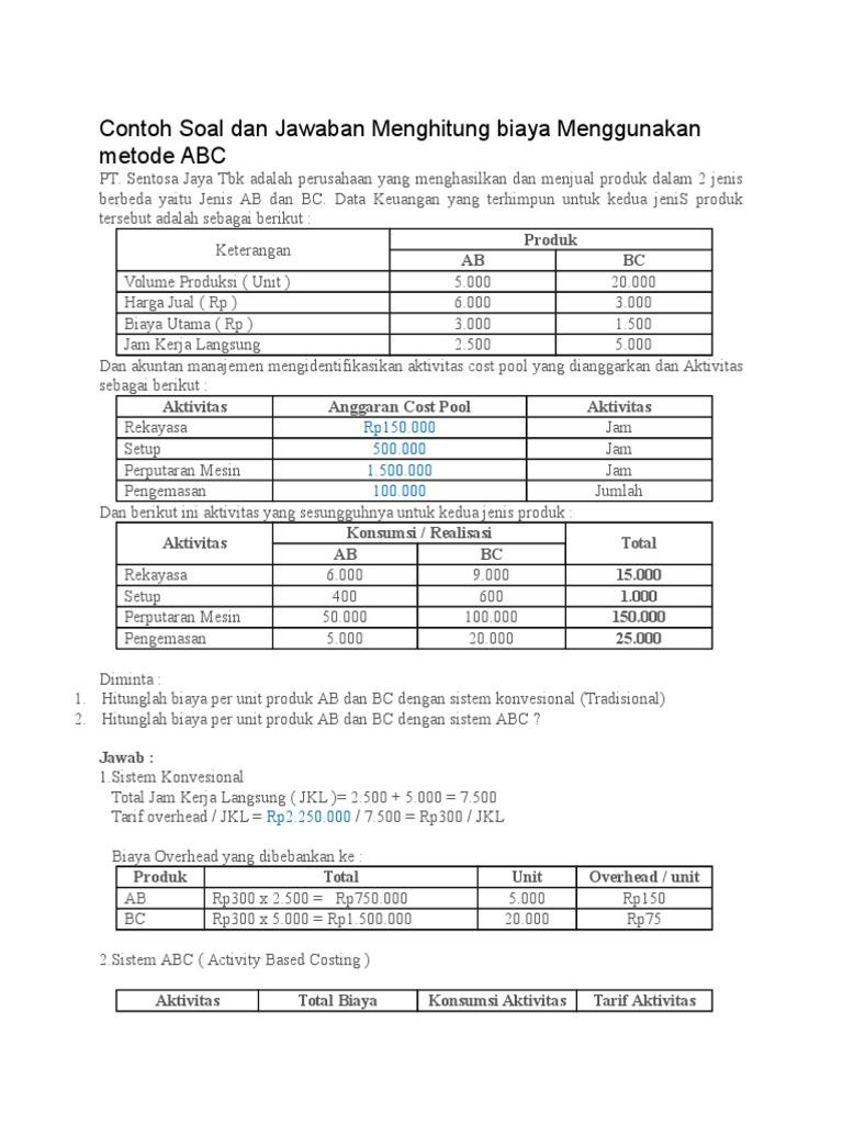 Contoh Soal Dan Jawaban Menghitung Biaya Menggunakan Metode Abc