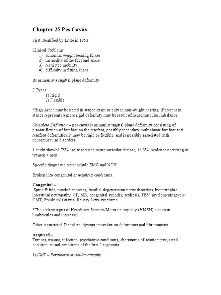 Hersheychapter 25 Pes Cavus | Foot | Limbs (Anatomy)