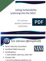 CON5777 Johnson JavaOne IntegratingVulnerabilityScanning