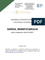 Ghidul Beneficiarului, Linia de Credit Filiere Du Vin, PRSVV