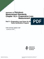 API MPMS 19.3 Evaporative Loss Measurement
