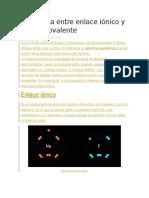 Diferencia Entre Enlace Iónico y Enlace Covalente