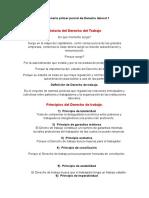 Cuestionario Primer Parcial de Derecho Laboral 1