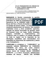 Movimiento de Los Trabajadores Del Banano en Bocas Del Toro y Puerto Armuelles de Noviembre de 1960