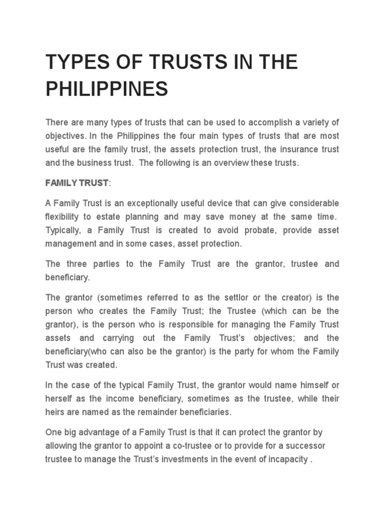 Types of Trusts in the Philippines | Trust Law | Business