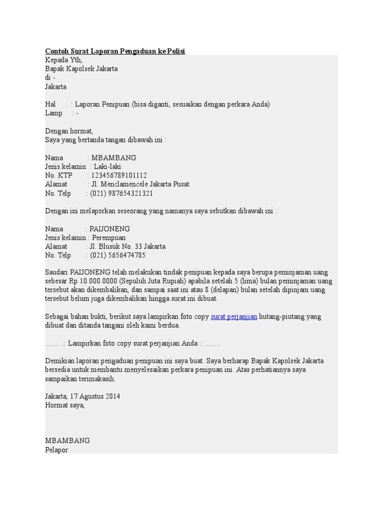 Contoh Surat Pelaporan