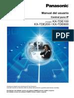Manual de Usuario Central Pura Ip Panasonic KX-TDE100 KX-TDE200 KX-TDE600