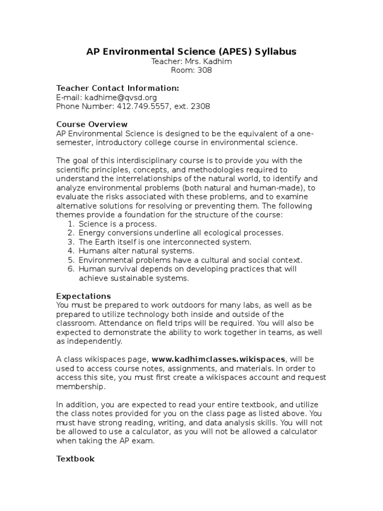 AP Environmental Science - Course Syllabus-2   Ecosistema