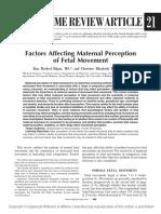 Factors Affecting Maternal Perception of Fetal Movements