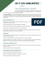 La Lengua y Los Hablantes - Raúl Avila
