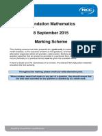 FDM September 2015 Examination Marking Scheme - Final