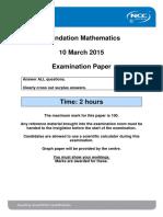 Foundation Mathematics March 2015 Exam - Final