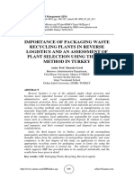IMPORTANCE OF PACKAGING WASTE RECYCLING PLANTS IN REVERSE LOGISTICS AND AN ASSESSMENT OF PLANT SELECTION USING THE AHP METHOD IN TURKEY