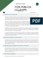 Guía de la asignatura Gestión Pública (CCJJAAPP)