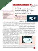 Klebsiella Pneumoniae Communiy-Acquired Pneumonia in a Trisomic at Omar Bongo Ondimba's Army Instruction Hospital (HIA OBO)
