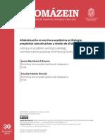 Alfabetizacion en Escritura Academica en Biologia Propositos Comunicativos y Niveles de Alfabetizacion