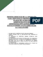 Examen Auxiliar Administrativo Ayto Vall d Uixo 2010