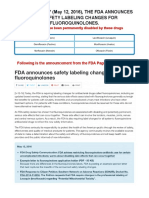 FDA Announces New Warnings about CIPRO