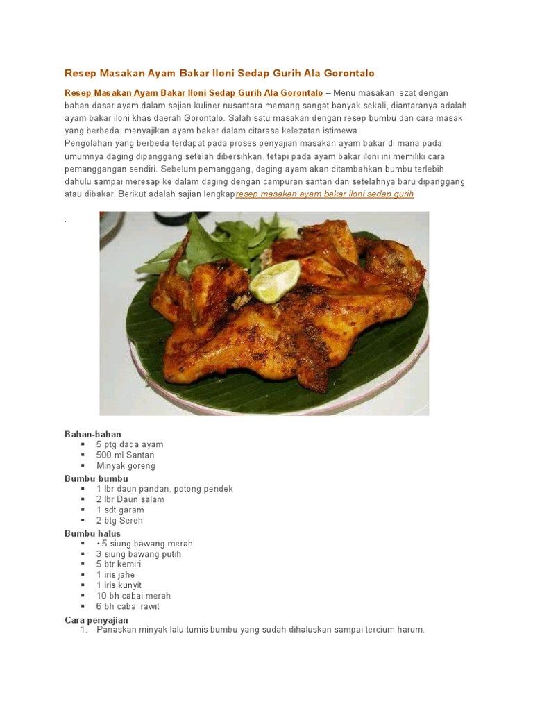 Resep Masakan Ayam Bakar Iloni Sedap Gurih Ala Gorontalo