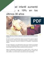 Obesidad Infantil Aumentó de 3