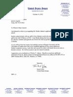 US Senator David Vitter Letter of Recommendation