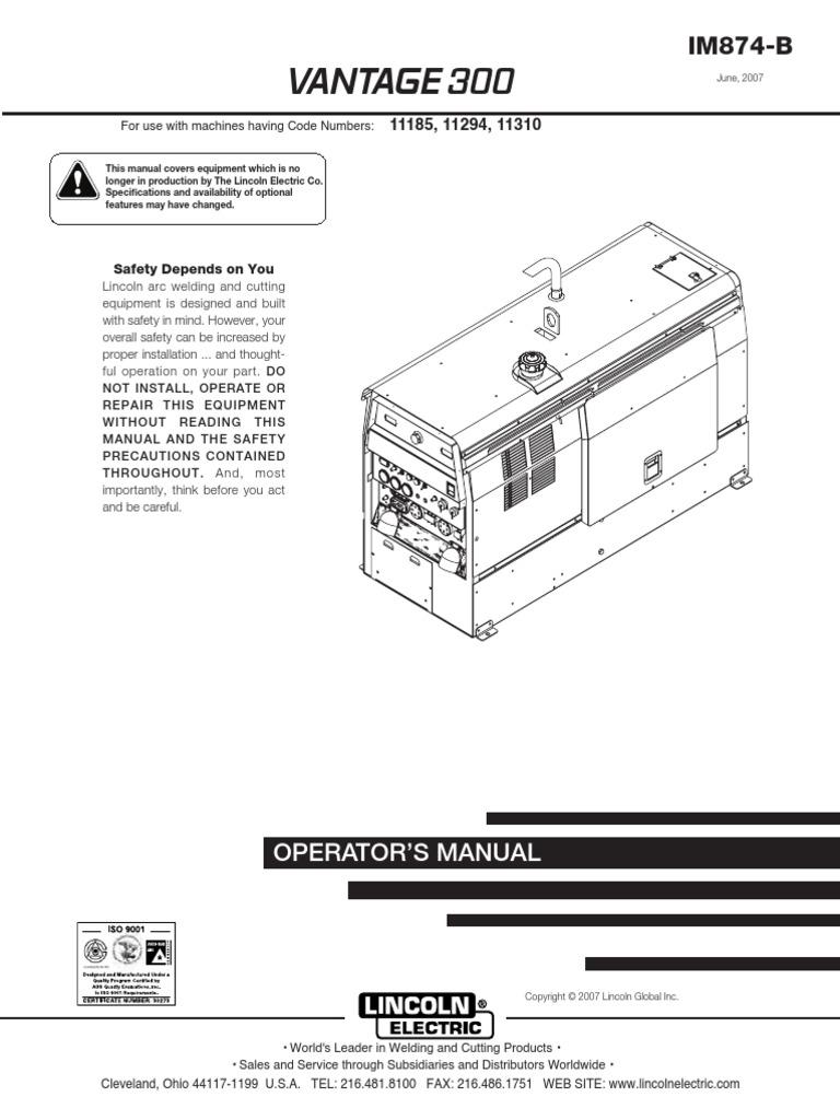 Lincoln Vantage 300 K2409-1 11310 Operator\'s Manual | Welding ...