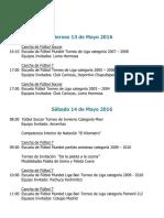 Actividades Fin de Semana 13, 14 y 15 de Mayo 2016