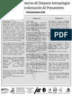 Programación de las Joranadas. Antropologías del Sur. 2016