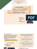 Administración, conceptos fundamentales, elementos y papel del administrador