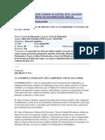 Ley Especial de Protección Al Patrimonio Cultural de la República de El Salvador