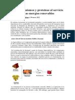 Microorganismos y Proteínas Al Servicio de Las Energías Renovables