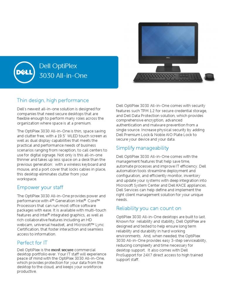Dell OptiPlex 3030 AIO Technical Spec Sheet New   Desktop