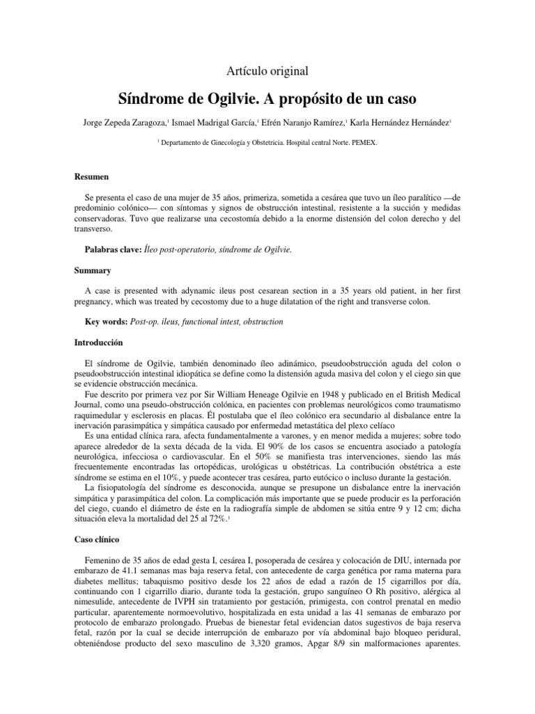 Sindrome De Ogilvie A Proposito De Un Caso Articulo Original