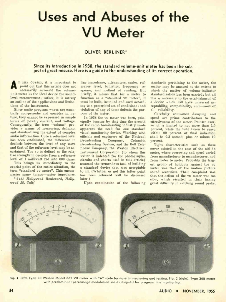 Uses And Abuses Of The Vu Meter Oliver Berliner Audio Nov 1955 1 Decibel Electrical Impedance