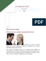El Divorcio Por Causal en Perú