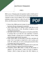 Hrm Unit I Notes