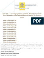 Synod15 – 14a Congregazione Generale_ Relazioni Dei Circoli Minori Sulla Terza Parte Dell'Instrumentum Laboris