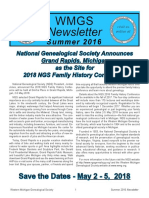 2016 Summer WMGS Newsletter