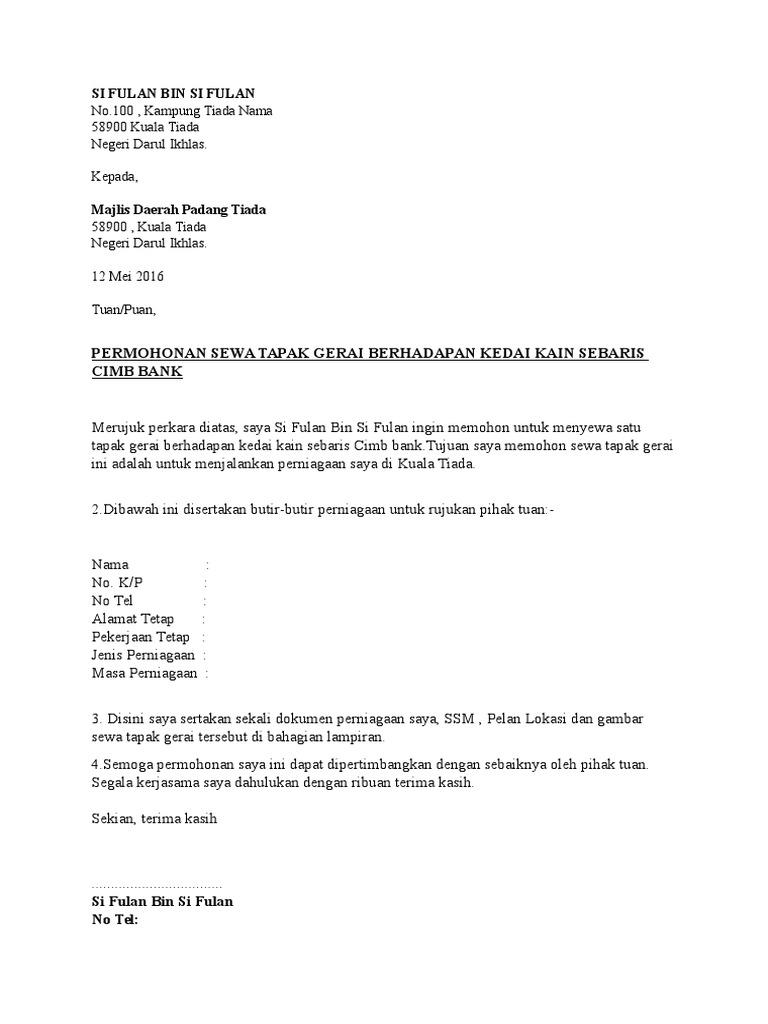 Contoh Surat Rasmi Permohonan Lesen Perniagaan Rasmi O
