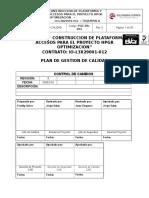 Pgc-pa-001 Plan de Gestion de Calidad Construccion de Pataformas y Accesos Hpgr