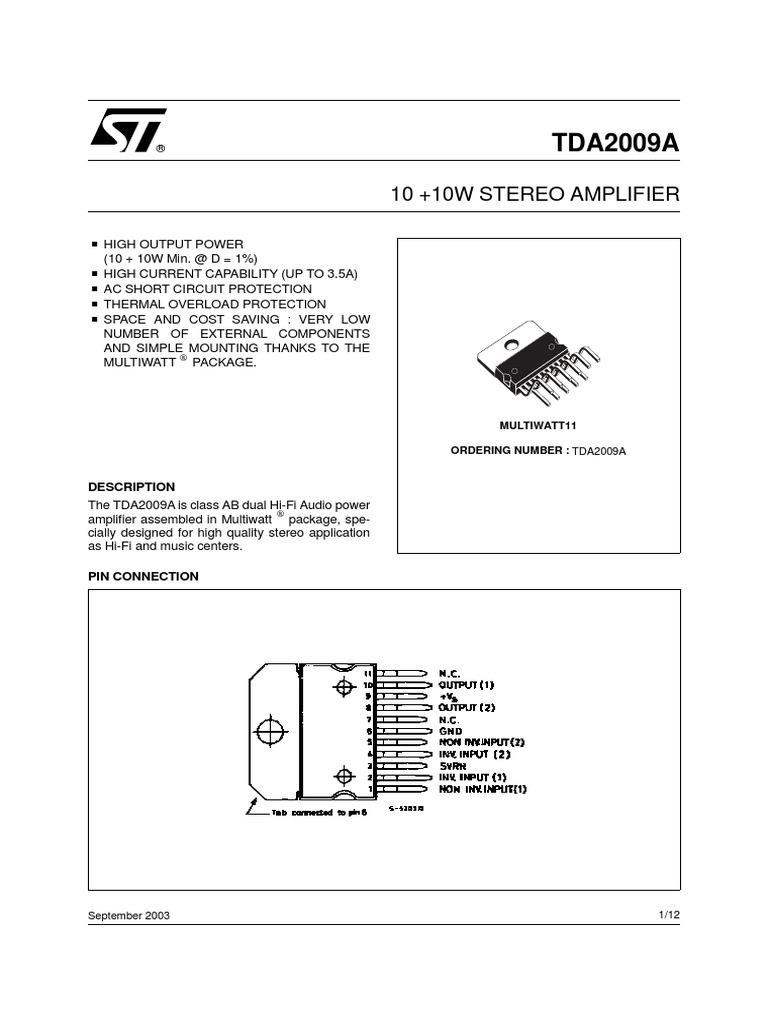 Tda2009a Amplifier Electromagnetism Motorola Hifi Power Circuit Design