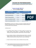 Calendario Anual TOEFL Colegio Posgraduados 2016