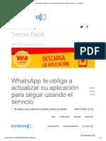 WhatsApp Te Obliga a Actualizar Su Aplicación Para Seguir Usando El Servicio - SoyTecno